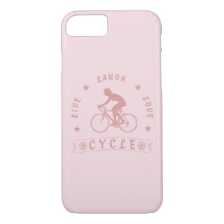 Lady's Live Laugh Love Cycle text (pink) iPhone 8/7 Case
