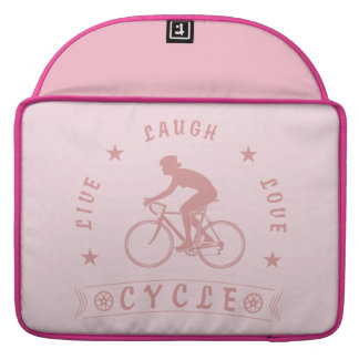 Lady's Live Laugh Love Cycle text (pink) Sleeve For MacBook Pro
