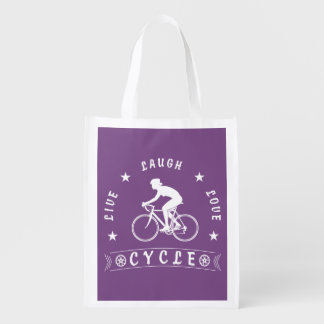 Lady's Live Laugh Love Cycle text (wht) Reusable Grocery Bag