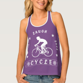 Lady's Live Laugh Love Cycle text (wht) Singlet