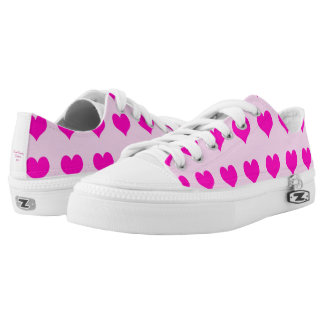 Lady's Pink Low Top Shoes with Hearts