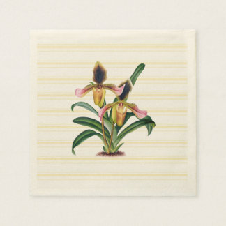 Lady's Slipper Orchid Botanical Paper Napkins Disposable Serviette