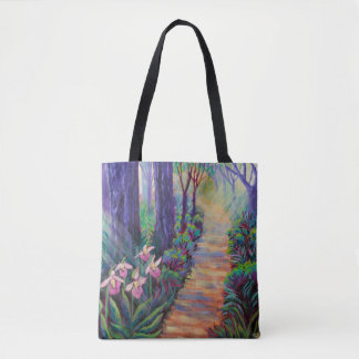 Ladyslippers Along a Path in the Woods Tote Bag