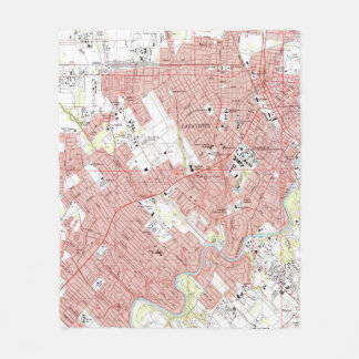 Lafayette Louisiana Map (1983) Fleece Blanket