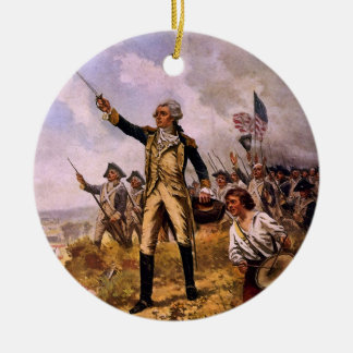 Lafayette's Baptism of Fire by E. Percy Moran Round Ceramic Decoration