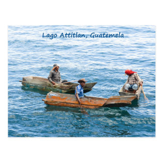 Lago Atitlan fishermen on the lake postcard