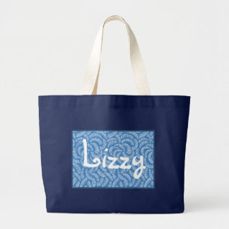 Lagoon Blue Japanese Tropical Fans Large Tote Bag