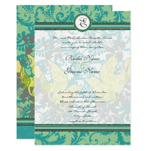 Lagoon Endive Vintage Birds Damask Grey Wedding 13 Cm X 18 Cm Invitation Card