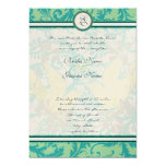 Lagoon Endive Vintage Birds Damask Grey Wedding Personalized Announcements