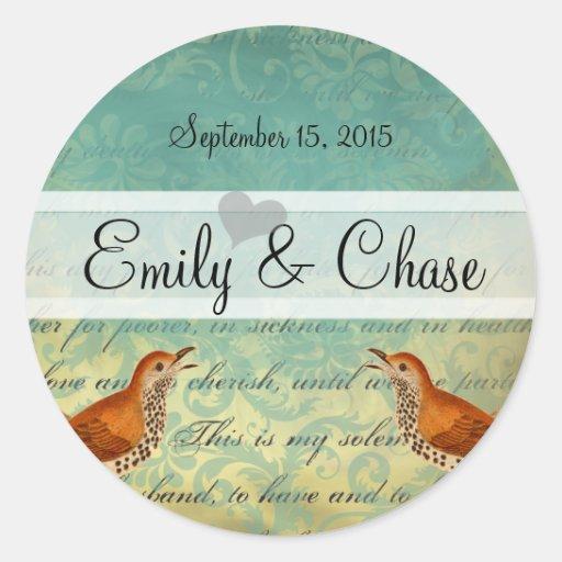 Lagoon & Endive Vintage Love Birds Wedding Sticker