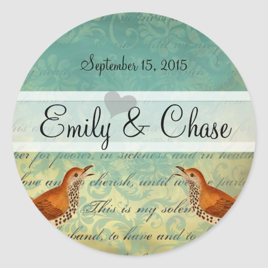 Lagoon & Endive Vintage Love Birds Wedding Sticker