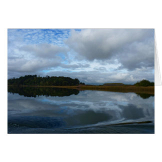Lagoon reflections in a cloudy day card
