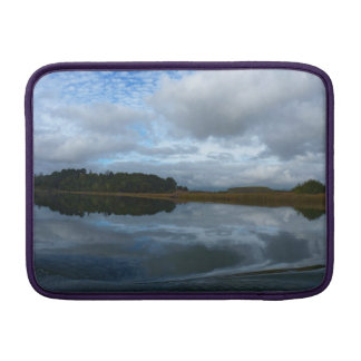 Lagoon reflections in a cloudy day sleeve for MacBook air