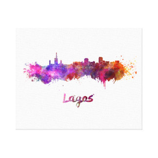 Lagos skyline in watercolor canvas print
