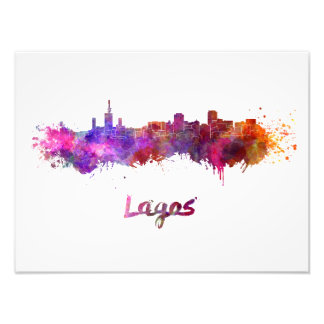 Lagos skyline in watercolor photo art