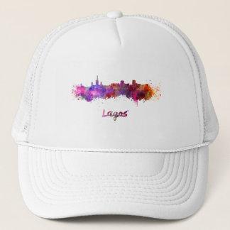 Lagos skyline in watercolor trucker hat