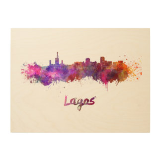 Lagos skyline in watercolor wood wall art