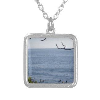 laguna beach surf silver plated necklace