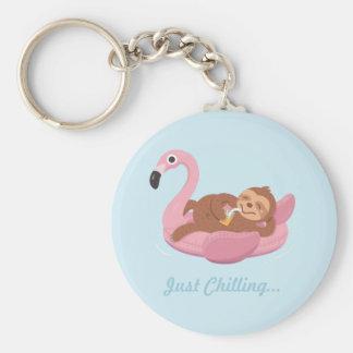 Laid Back Lazy Sloth Pink Flamingo Float Keychain
