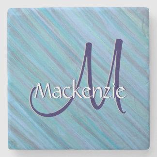 Laidback Blue Turquoise Aqua Teal Stripe Stone Coaster