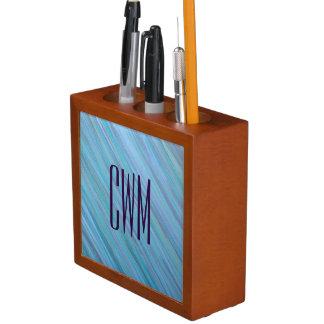 Laidback Desk | Monogram Turquoise Aqua Blue | Desk Organiser