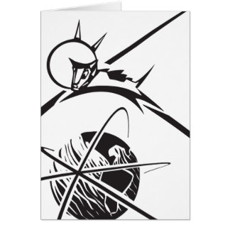 Laika over Earth Black and White Card