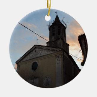 Laino Borgo Church Sunset Round Ceramic Decoration