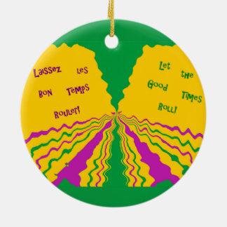 Laissez Les Bon Temps Rouler Double-Sided Ceramic Round Christmas Ornament