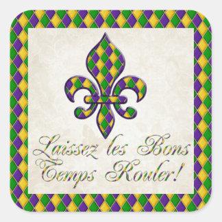 Laissez les Bons Temps Rouler Mardi Gras Fleur d1 Square Sticker