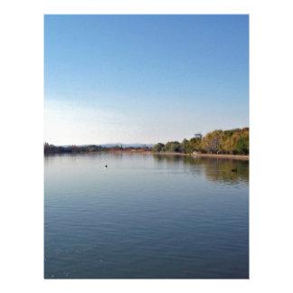 Lake against blue sky flyer design