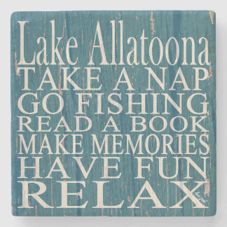 Lake Allatoona, Cyan, Georgia, Marble Coasters. Stone Coaster
