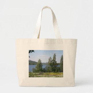 Lake and Fence Canvas Bag