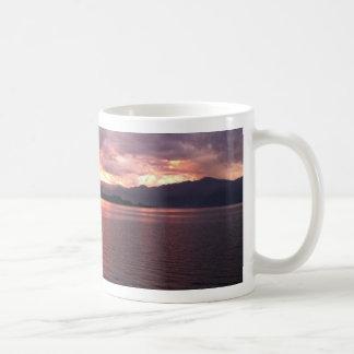 Lake and sunset coffee mug