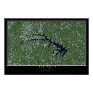 Lake Anna Virginia From Space Satellite Map Poster