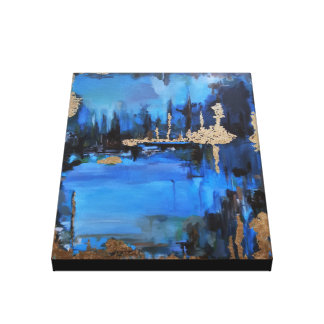 Lake at Night Painting Blue Turquoise Gold Brown Canvas Print
