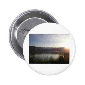 lake at sunset pinback button