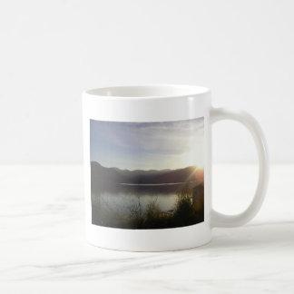 lake at sunset coffee mug