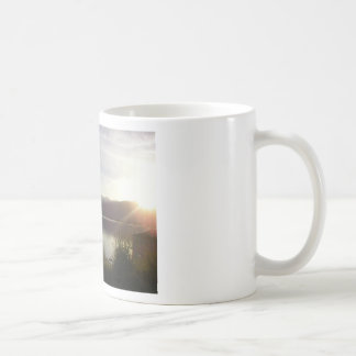 lake at sunset mug