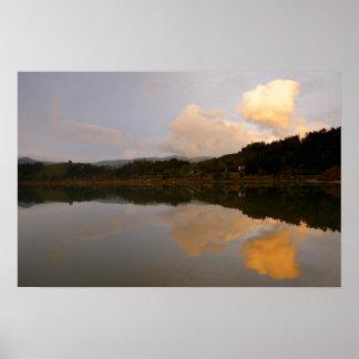 Lake at sunset poster