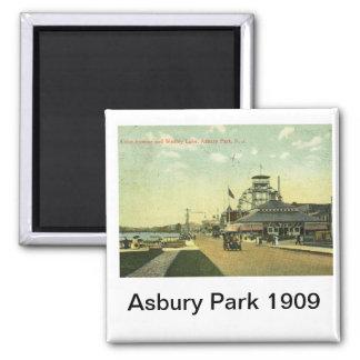 Lake Avenue, Asbury Park, NJ 1909 Vintage Square Magnet