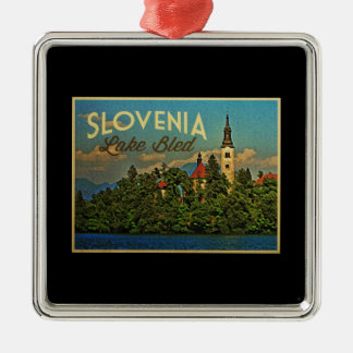 Lake Bled Slovenia Metal Ornament