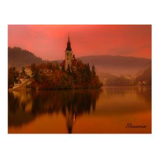 Lake Bled Sunset   Natural Beauty of Slovenia Postcard