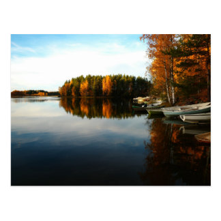 Lake brown woods. Autumn Forest Postcard