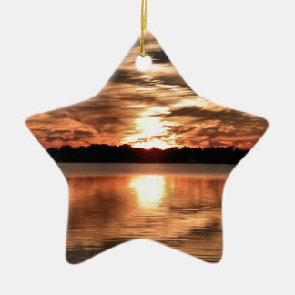 Lake Cadillac Sunset Ceramic Star Decoration