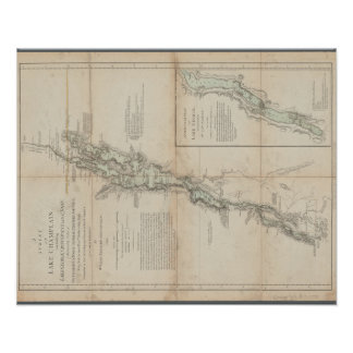 Lake Champlain and Lake George Historic 1762 Map Poster