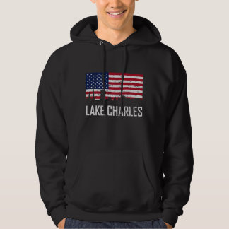 Lake Charles Louisiana Skyline American Flag Distr Hoodie
