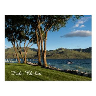 Lake Chelan Washington State Boat & Trees Travel Postcard