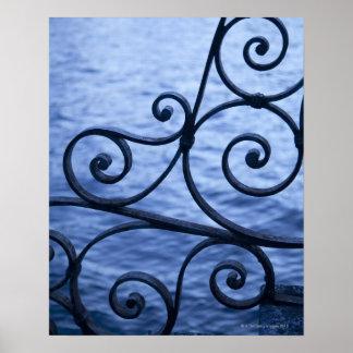 Lake Como, detail, view of walkway iron railing Poster