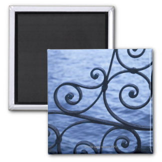 Lake Como, detail, view of walkway iron railing Square Magnet
