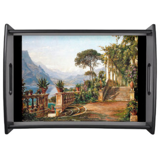 Lake Como Italy Balcony Flower Garden Serving Tray